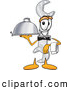 Cuisine Clipart of a Smiling Wrench Mascot Cartoon Character Dressed As a Waiter and Holding a Serving Platter by Toons4Biz