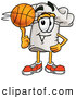 Cuisine Clipart of a Sporty Chefs Hat Mascot Cartoon Character Spinning a Basketball on His Finger over White by Toons4Biz
