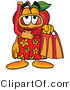 Cuisine Clipart of a Sporty Nutritious Red Apple Character Mascot in Orange and Yellow Snorkel Gear by Toons4Biz