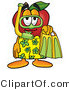 Cuisine Clipart of a Sporty Red Apple Character Mascot in Green and Yellow Snorkel Gear by Toons4Biz