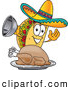 Cuisine Clipart of a Taco Mascot Cartoon Character Serving a Thanksgiving Turkey on a Platter, on White by Toons4Biz