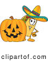 Cuisine Clipart of a Taco Mascot Cartoon Character with a Carved Halloween Jack O Lantern Pumpkin by Toons4Biz
