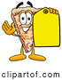 Cuisine Clipart of a Tasty Slice of Pizza Mascot Cartoon Character Holding a Yellow Sales Price Tag by Toons4Biz