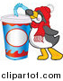 Cuisine Clipart of a Thirsty Penguin Drinking Soda Pop Through a Bendy Straw by Toons4Biz