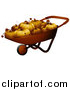 Cuisine Clipart of a Wheel Barrow Full of P3d Umpkins by BNP Design Studio