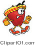 Cuisine Clipart of an Athletic Nutritious Red Apple Character Mascot Speed Walking or Jogging by Toons4Biz