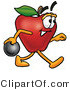 Cuisine Clipart of an Athletic Red Apple Character Mascot Holding a Bowling Ball by Toons4Biz