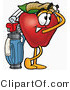 Cuisine Clipart of an Athletic Red Apple Character Mascot Swinging His Golf Club While Golfing by Toons4Biz