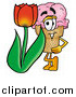 Cuisine Clipart of an Ice Cream Cone with a Red Tulip Flower by Toons4Biz