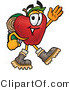 Cuisine Clipart of an Outdoorsy Red Apple Character Mascot Hiking and Carrying a Backpack by Toons4Biz