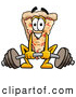 Cuisine Clipart of an Outgoing Slice of Pizza Mascot Cartoon Character Lifting a Heavy Barbell by Toons4Biz