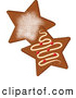 Cuisine Clipart of Star Shaped Gingerbread Christmas Cookies with Icing by Pams Clipart