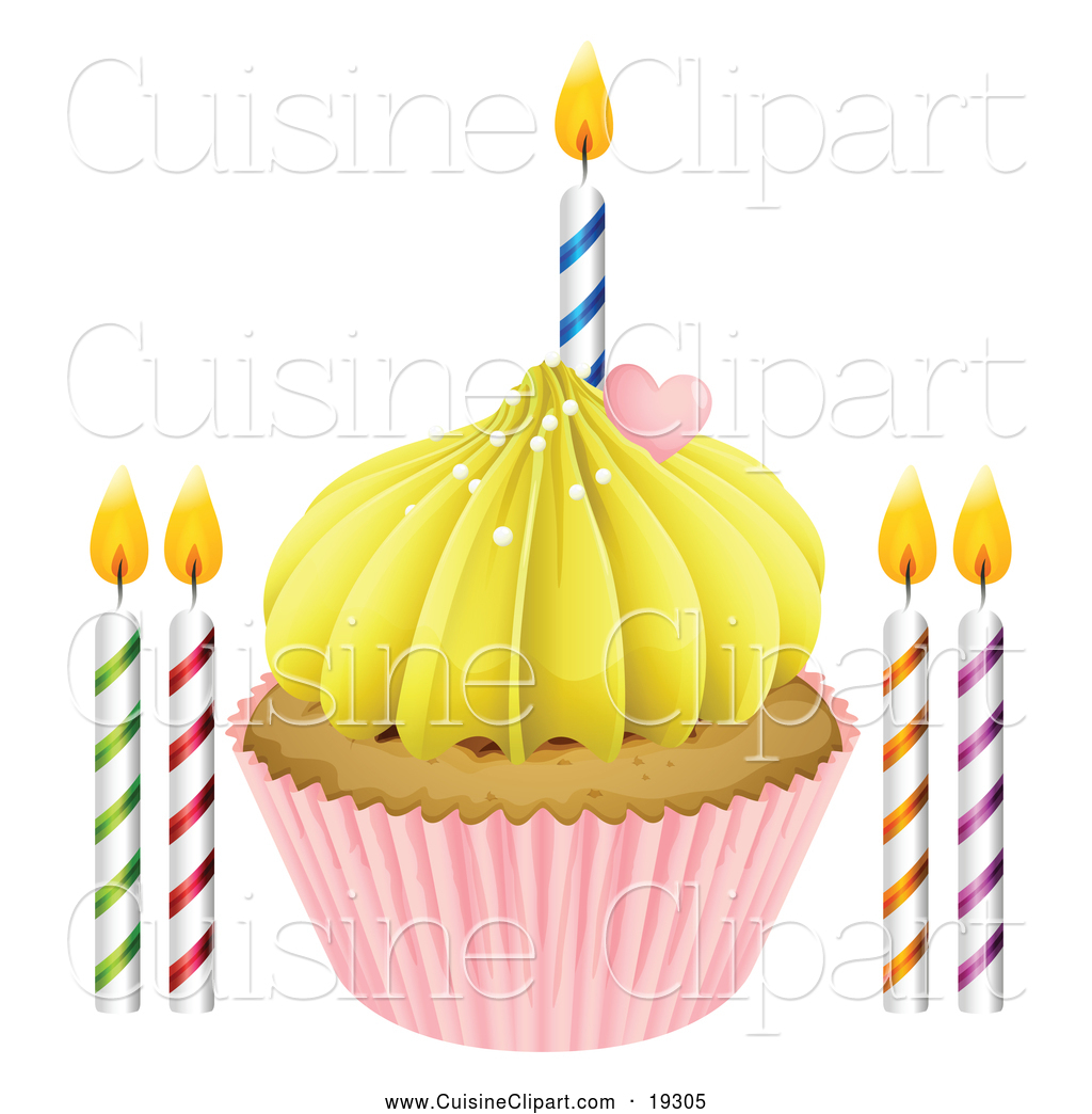 Cuisine Clipart Of A Birthday Cupcake With Candles By Graphics Rf