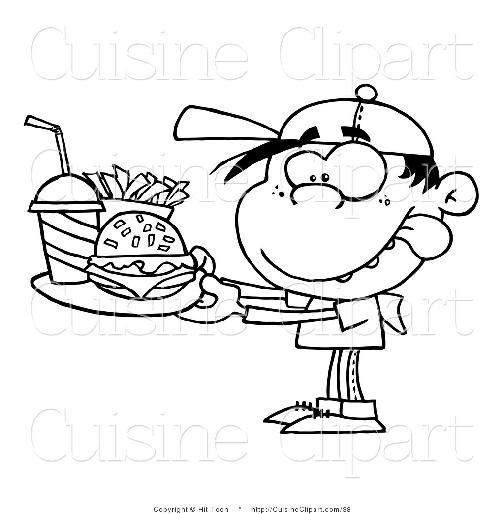 Cuisine Clipart Of A Coloring Page Boy With Fast Food