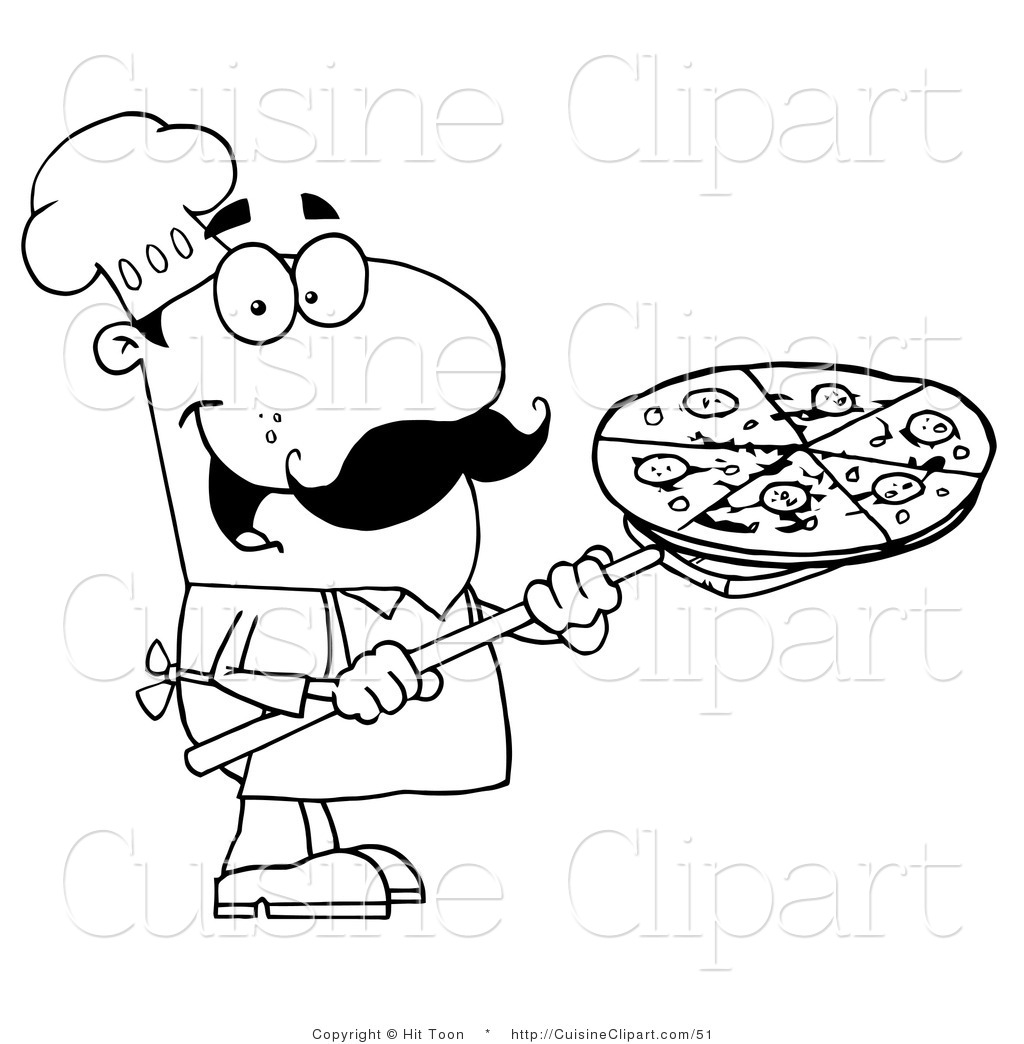 Cuisine Clipart Of A Coloring Page Chef Carrying Pizza Pie On Stove