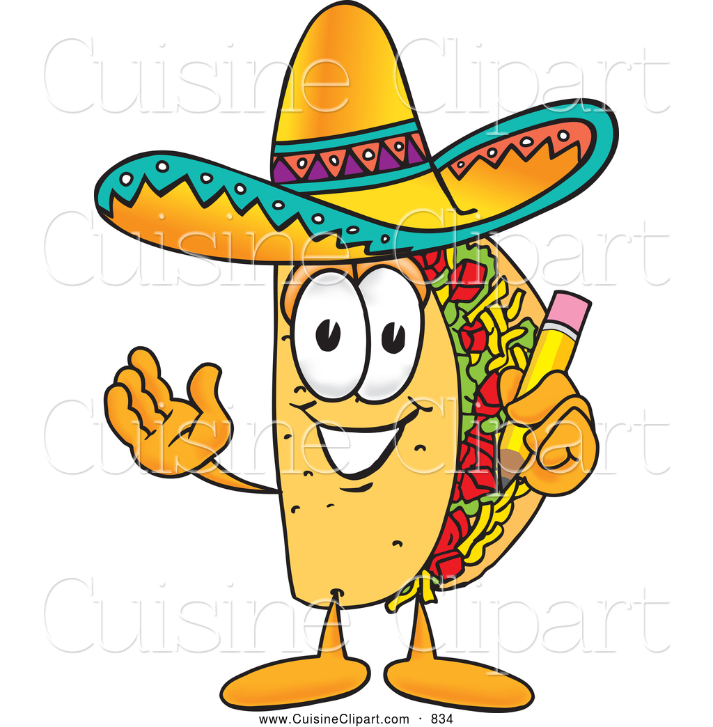 Taco running. Cuisine clipart of a
