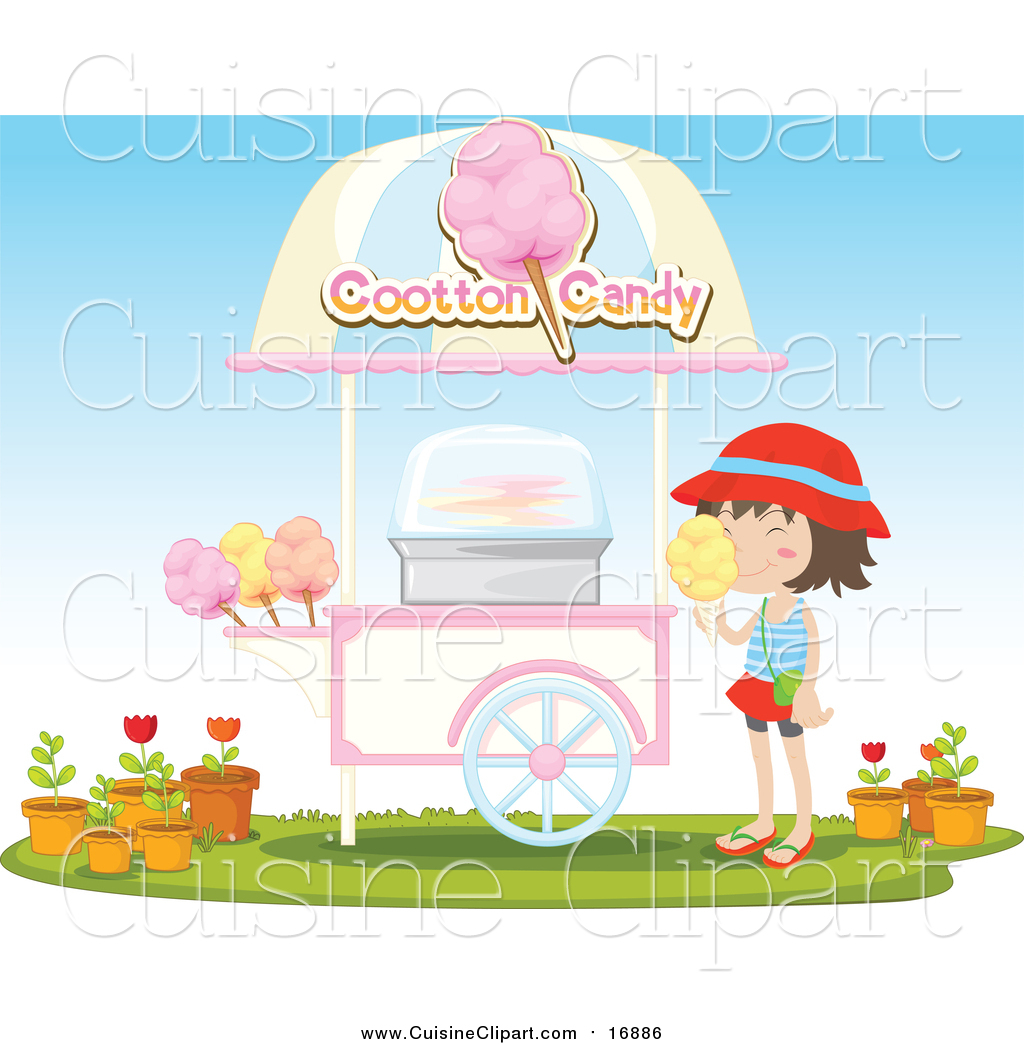 Cuisine Clipart of a Girl at a Cotton Candy Kiosk
