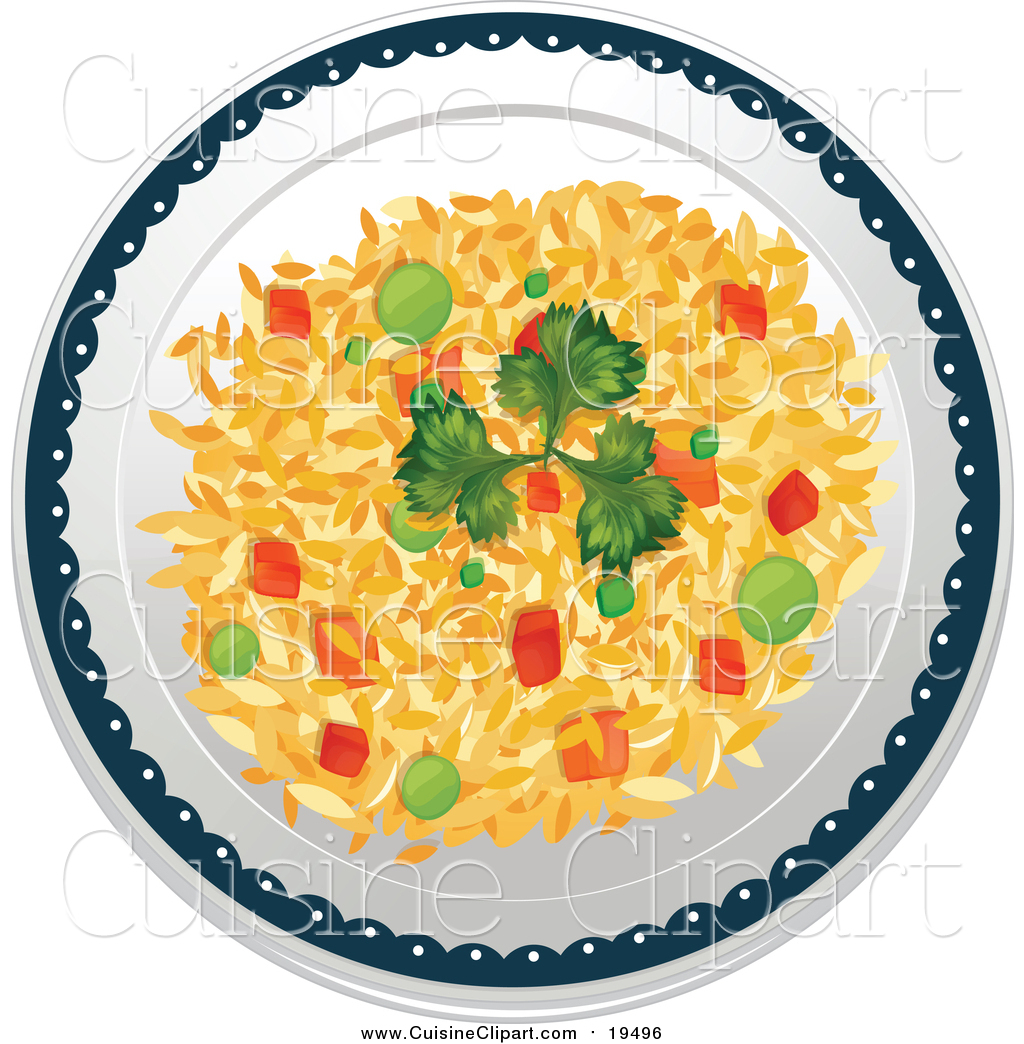 Cuisine Clipart Of A Plate Of Vegetable Fried Rice By Graphics Rf 19496