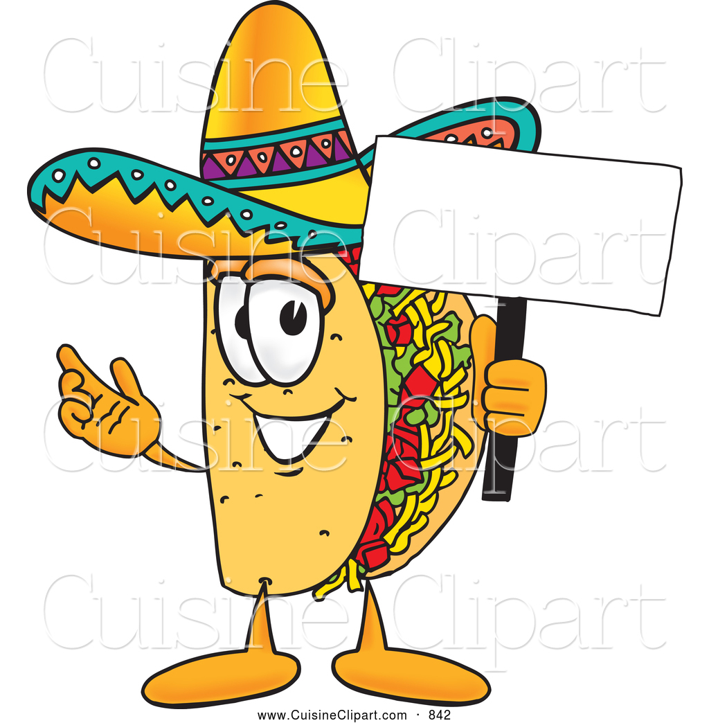 Cuisine Clipart Of A Smiling Taco Mascot Cartoon Character Holding Blank Sign