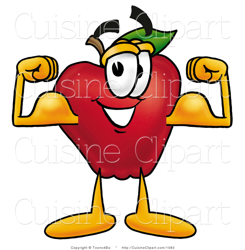 Cuisine Clipart Of A Strong Nutritious Red Apple Character Mascot