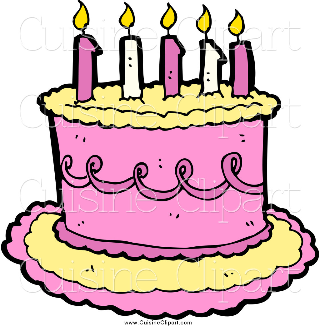 Astounding Cuisine Clipart Of A Yellow And Pink Birthday Cake With Candles By Funny Birthday Cards Online Elaedamsfinfo