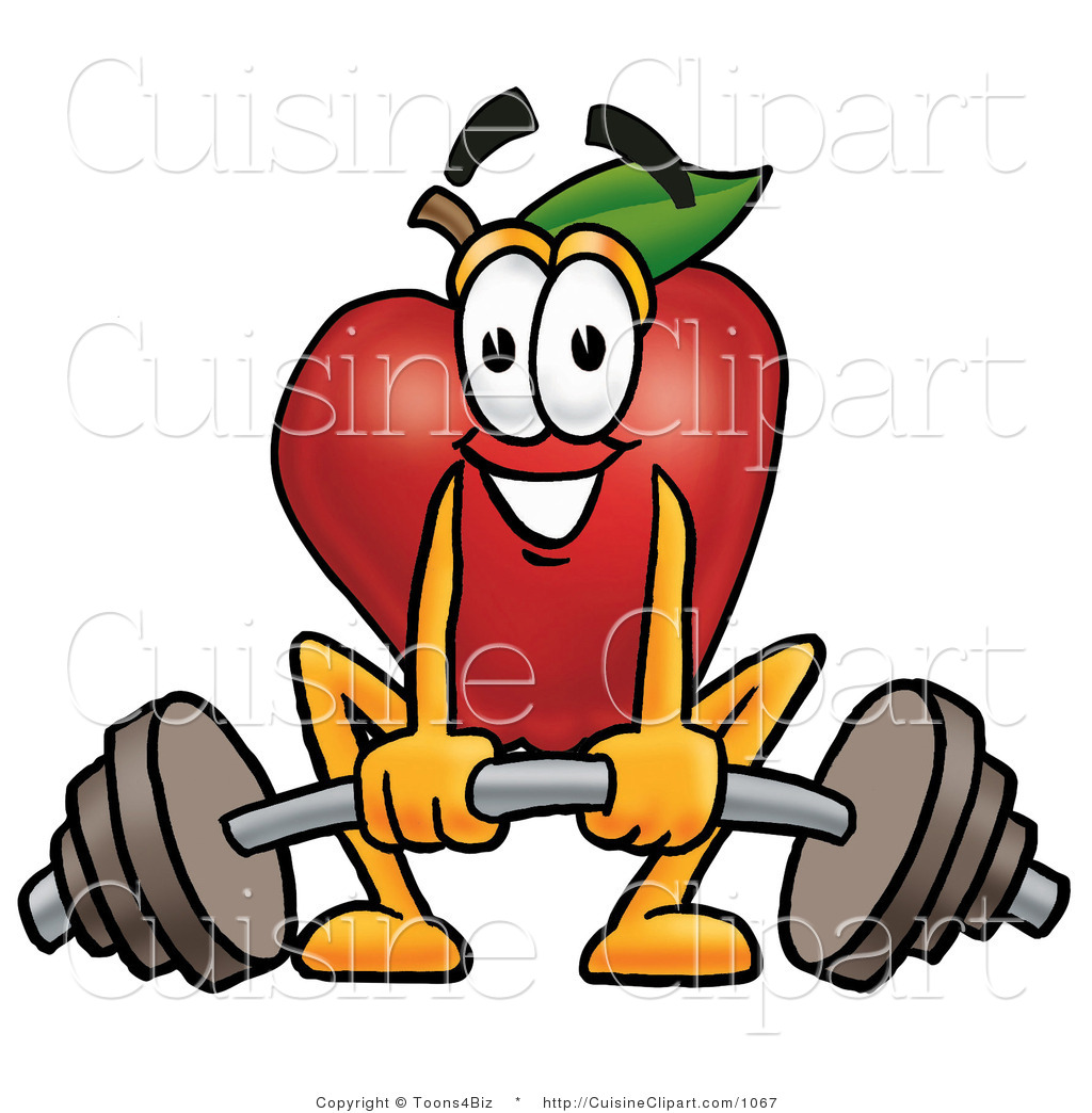 Apple Character Design : Cuisine clipart of an athletic red apple character mascot