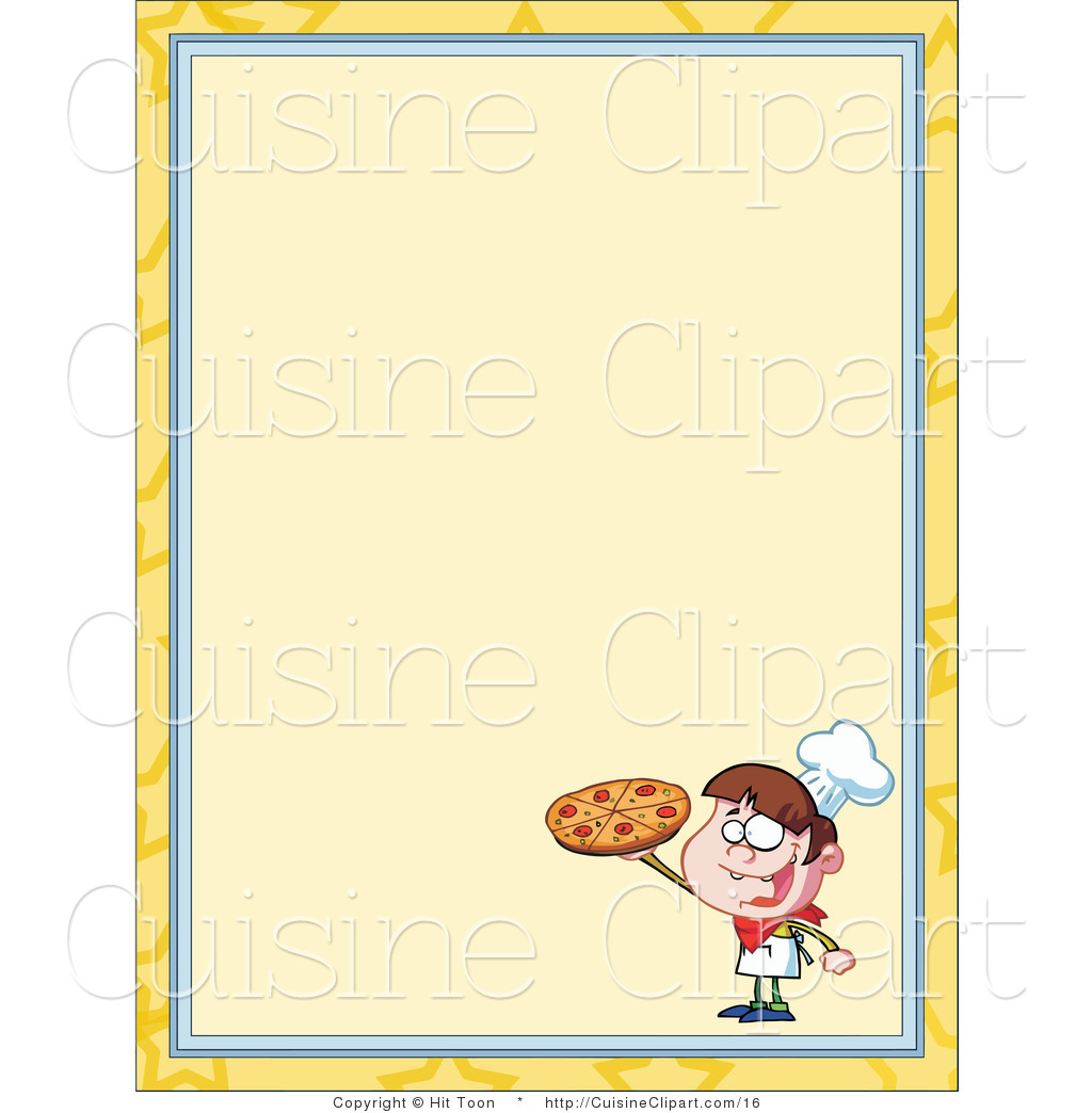 Cuisine Vector Clipart Of A Pizza Boy Menu Border By Hit Toon 16