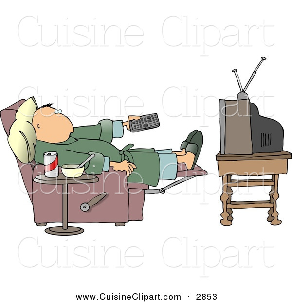 Cuisine Clipart of a Lazy Couch Potato Man Holding the TV Remote ...